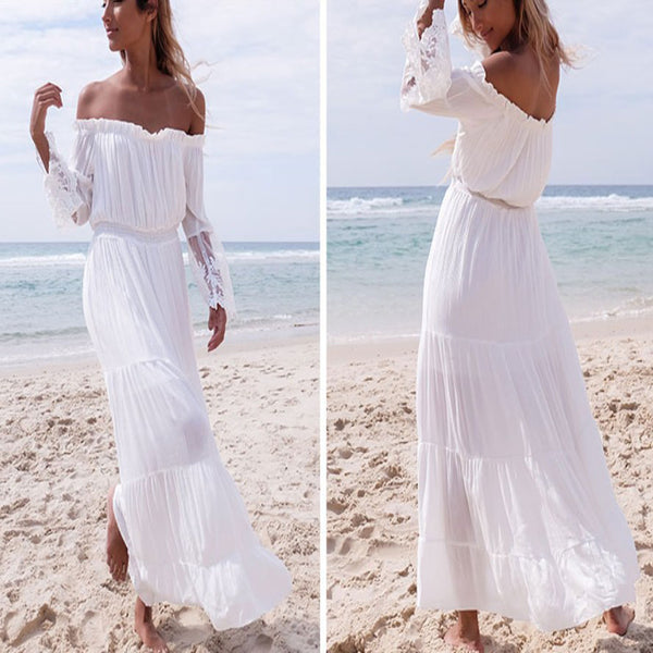 Women Sexy Strapless Beach Summer Long Dress Dresses Beach Dresses