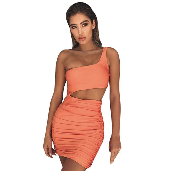 Sexy Women One Shoulder Dress Sleeveless Evening Party Bodycon Dress - waistshaper