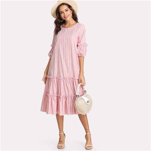 Flounce Casual Frill Embellished Swing Dress - waistshaper