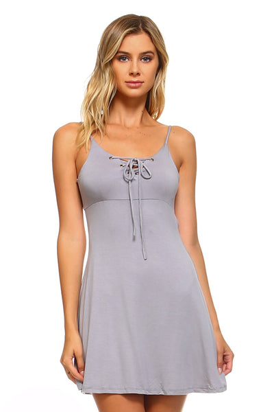 Women's Front and Back Tie Skater Tank Dress