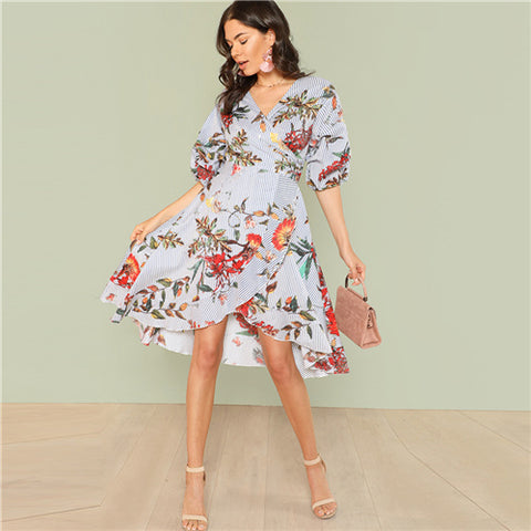 SHEIN Mixed Print Asymmetrical Ruffle Hem Surplice Wrap Dress 2018 Summer V Neck Short Bishop Sleeve Dress Women Vacation Dress - waistshaper