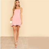Pink Pastel Party Preppy Ruffle Asymmetrical Backless Dress - waistshaper