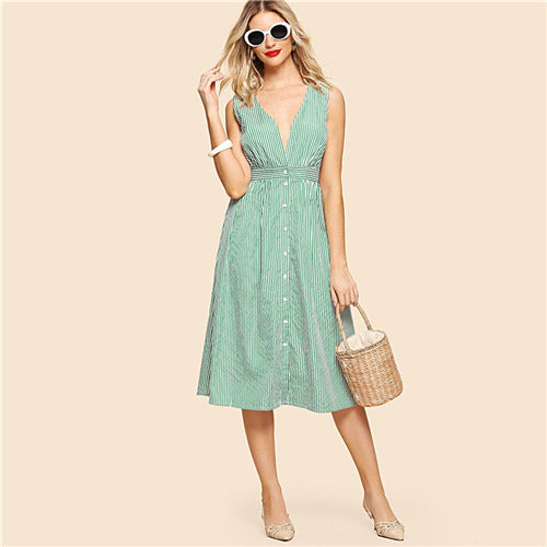 SHEIN Green Striped Sleeveless V-Neck Ladies Vintage Dresses 2018 Summer Weekend Casual Preppy A Line Pinstriped Button Dress - waistshaper
