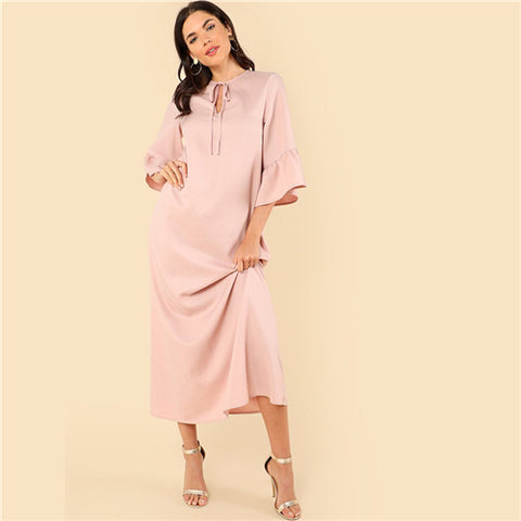 SHEIN Elegant Flounce Sleeve Tie Neck Round Neck Three Quarter Length Sleeve Natural Waist Maxi Dress Summer Women Casual Dress - waistshaper