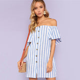Off Shoulder Button Up Short Sleeve Tunic Dress - waistshaper