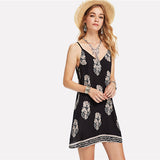 V Neck Natural Waist Cami Dress
