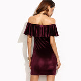Burgundy Ruffle Off The Shoulder Short Sleeve Velvet Bodycon Mini Dress - waistshaper