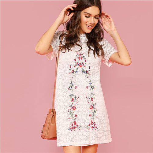 SHEIN White Flower Embroidery Sheer Circle Pattern Dress - waistshaper