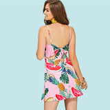 Beach Backless Knot Open Back Tropical Print Cami Dress - waistshaper
