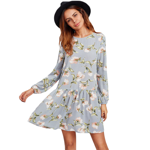 Grey Long Sleeve Round Neck Cut Out Back Floral Cute Dresses - waistshaper