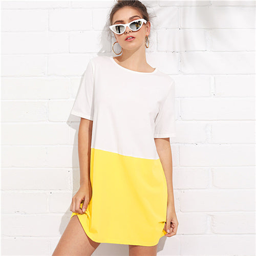 White And Yellow Colorblock Two Tone Round Neck Short Sleeve Dress