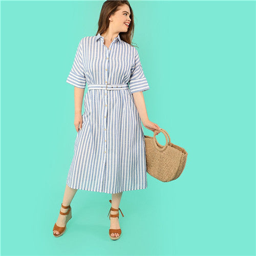 Shirt Dress Turn-down Collar Pinstripe Casual Dresses - waistshaper