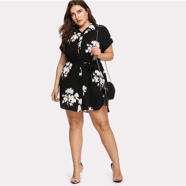 Short Sleeve Collar Neck Floral Dress - waistshaper