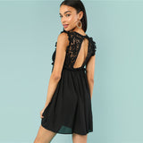 Round Neck Sleeveless Short Shift Dress - waistshaper