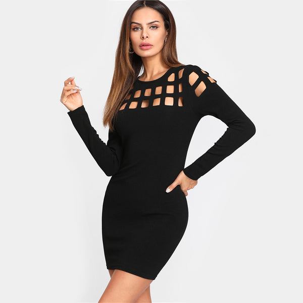 Fitting Dress Black Long Sleeve Cut Out Round Neck Elegant Party Dress - waistshaper