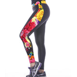 Rose Printed Seam Tight Yoga Leggings