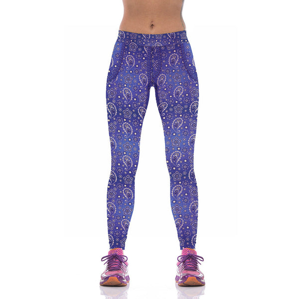 Lady Blue Floral Fitness Yoga Leggings - waistshaper