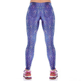 Lady Blue Floral Fitness Yoga Leggings