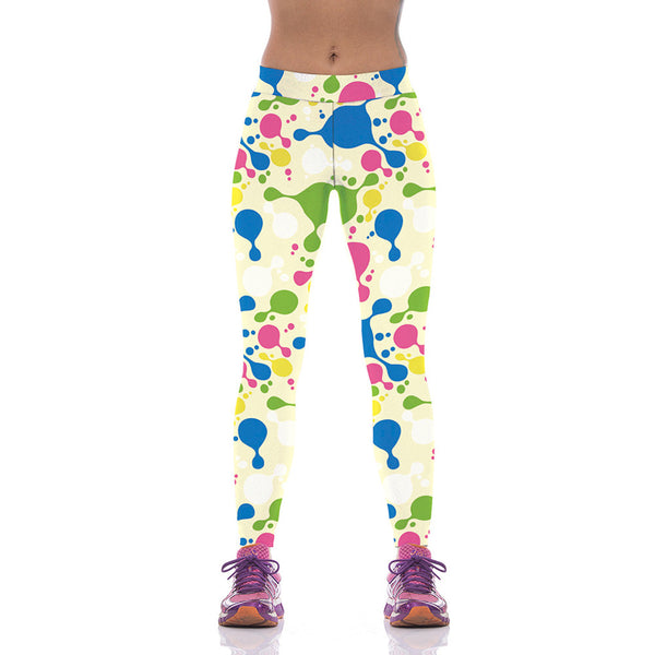 Fashion Women Colorful Block Printed Yoga Leggings - waistshaper