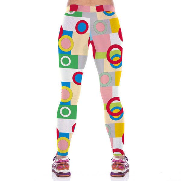Colorful Ring Print Workout Yoga Leggings Women - waistshaper