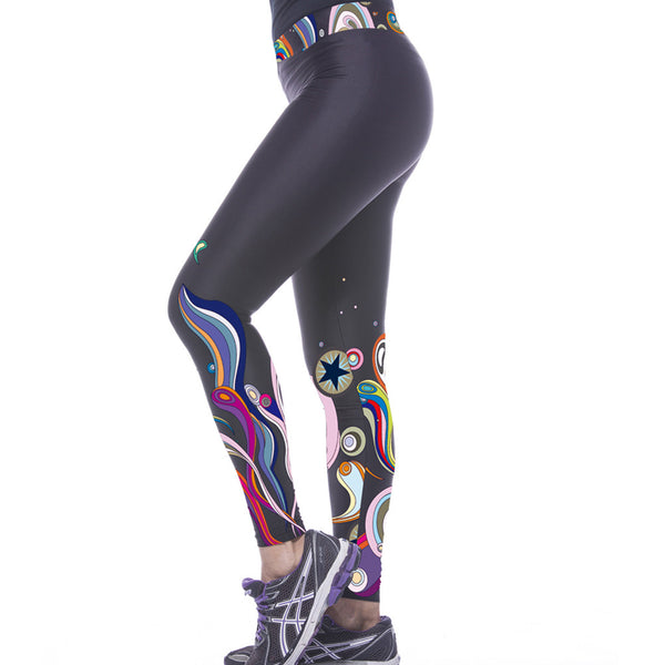 Black Fashion Marine Organism Printed Gym Sexy Fitness Leggings - waistshaper