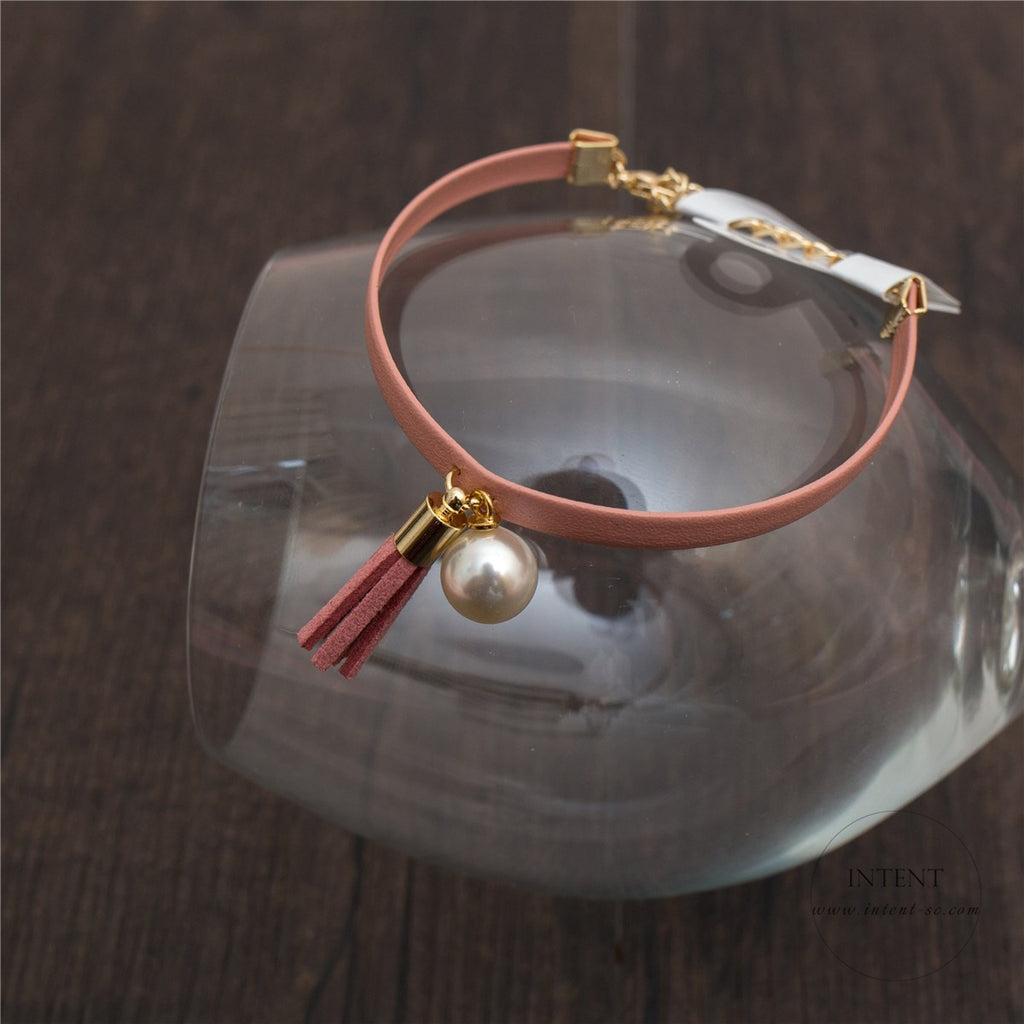 Pearl Tassel Leather Bracelet / BL8023