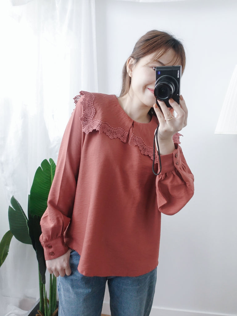 Umbre Collar 橙紅憧憬雕花傘大領口, Blouse/ TP8615