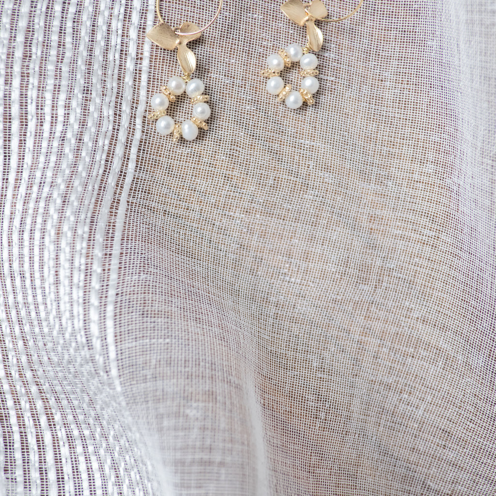 Gold Flower Round Pearl,  Earrings/ ER8263
