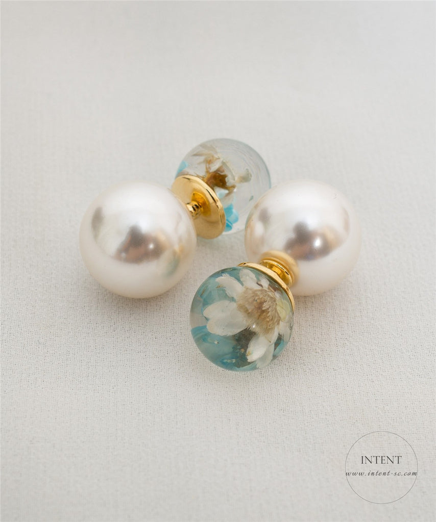 Flower Pearl Stud Earrings / ER8087