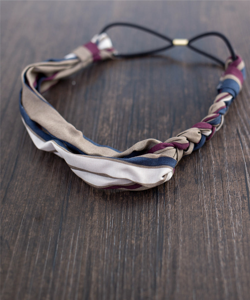 Striped Braid End Elastic Hairband / HA8022