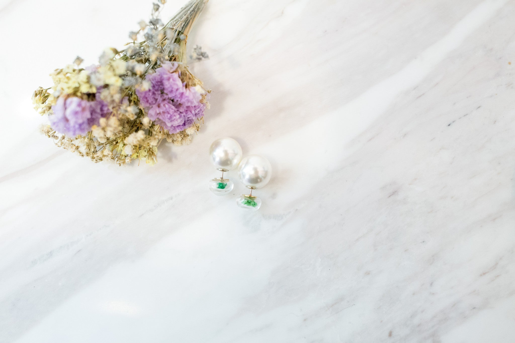 Flower bulb & Pearl Earrings/ ER8133