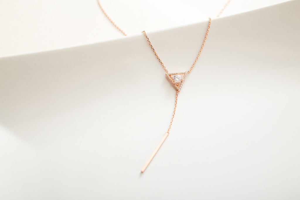 Triangle heart Long Bar Necklace / NL8076