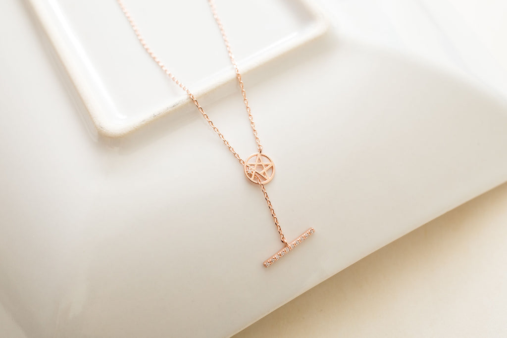 """I wish"" Star Plate & Bar long necklace / NL8075"