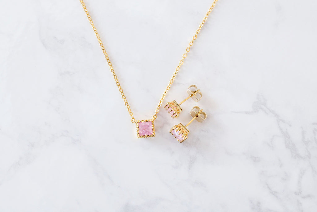 Romantic Cube earrings & necklace set/ ASE8016