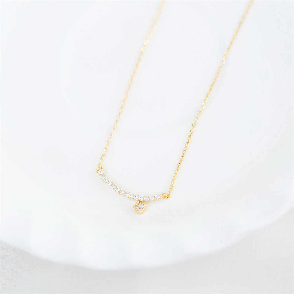 Crystal Drop Glitter Bar Necklace / NL8017