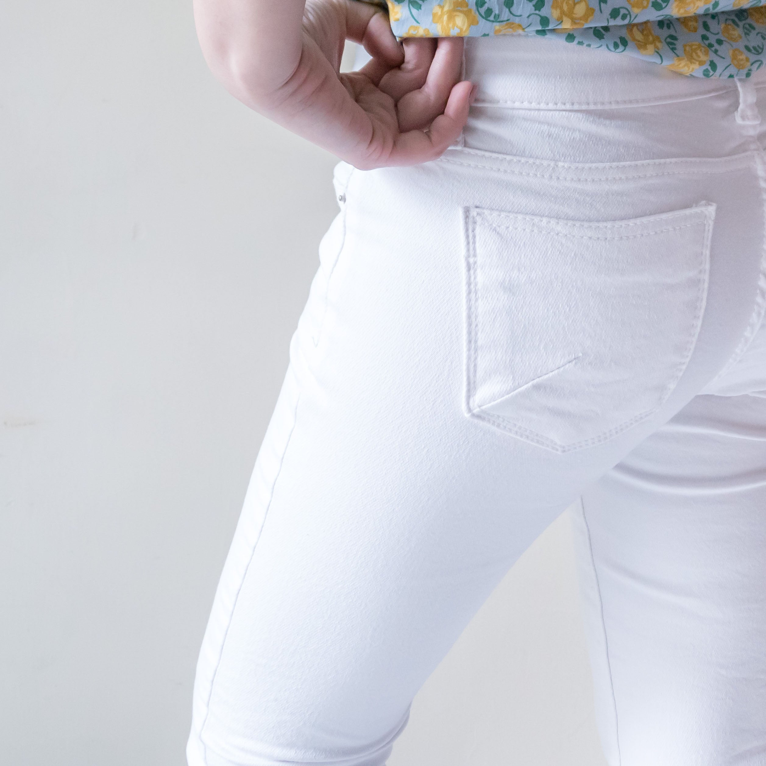 !Elastic! Just right, white pants/ PT8134