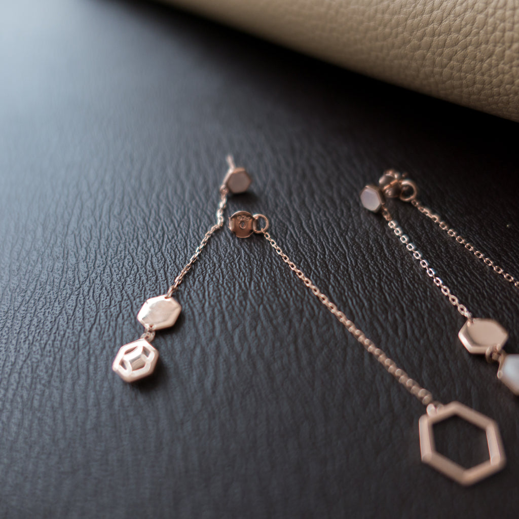 Silver Rosegold, Double Drop Earrings/ ER8256