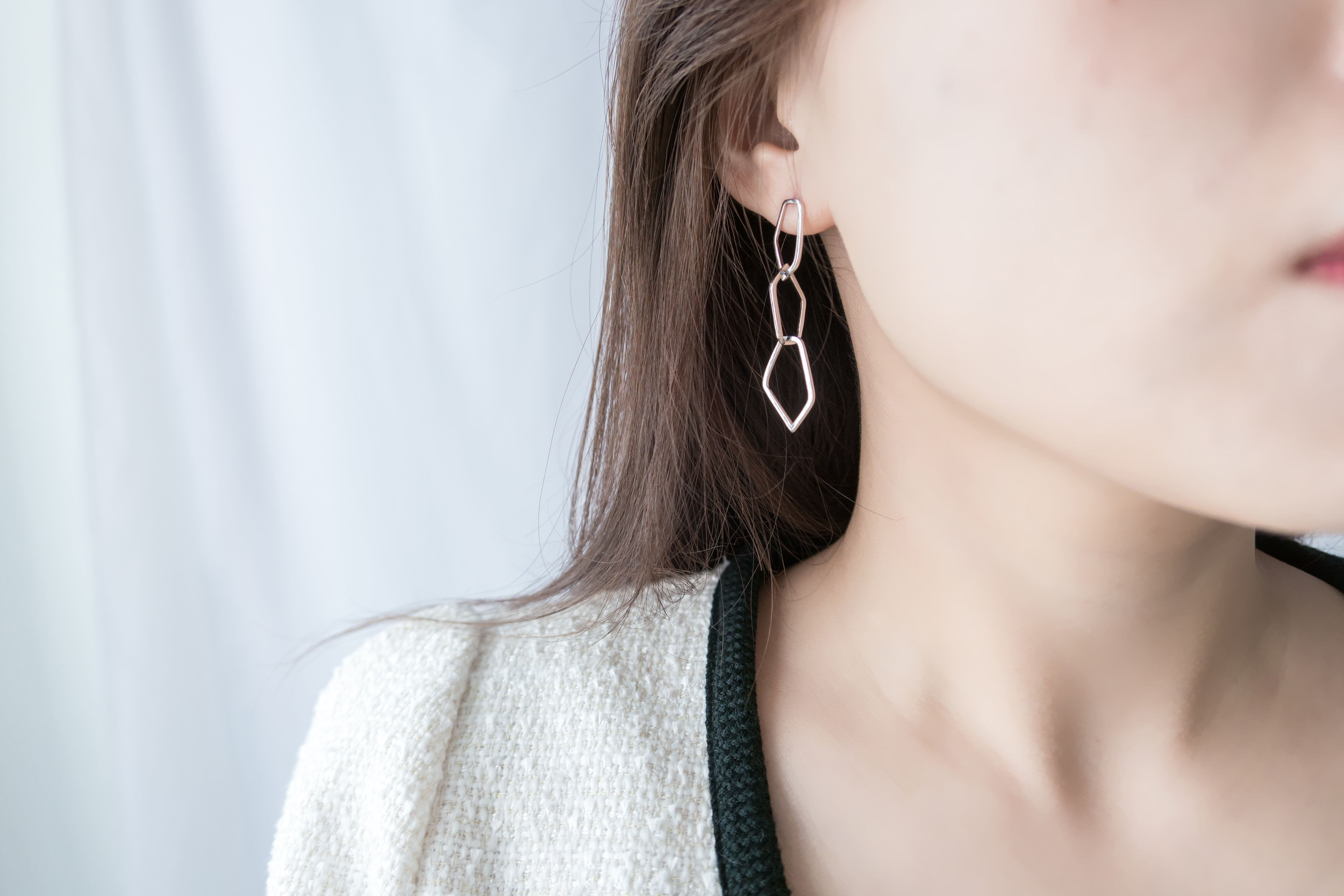 Silver made, loops earrings/ ER8276