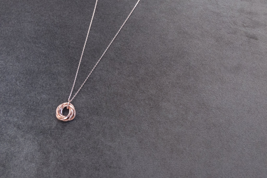 Rosegold silver loop, Necklace/ NL8134