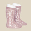 Condor Open Lacework Knee High Socks - Rose