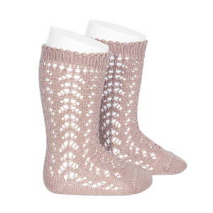Condor Open Lacework Knee High Socks - Dusty Rose