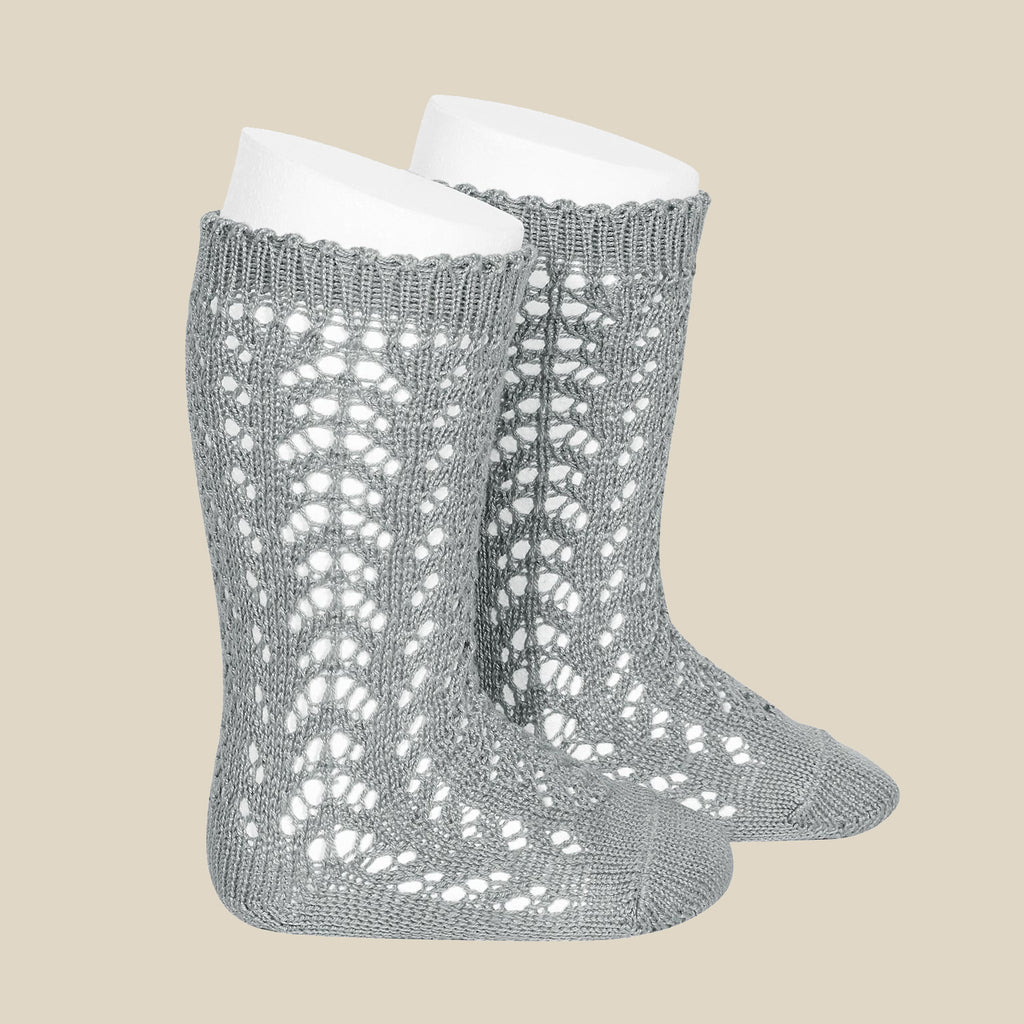 Condor Open Lacework Knee High Socks - Dusty Blue