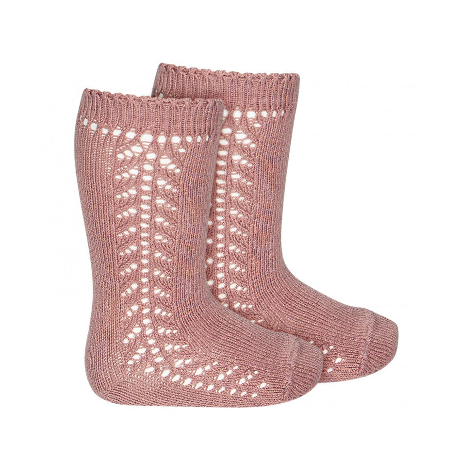 Condor Side Lacework Knee High Socks - Terracotta