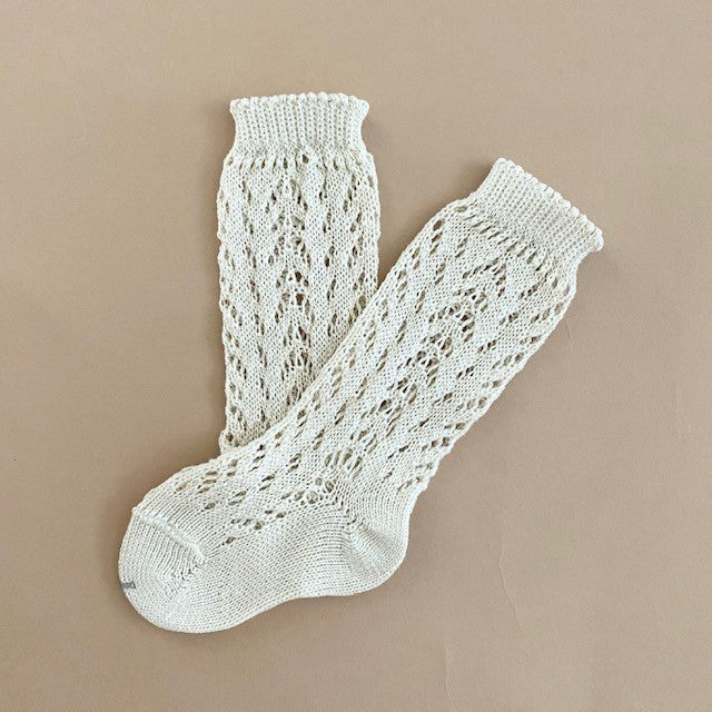 Condor Open Lacework Knee High Socks - Linen