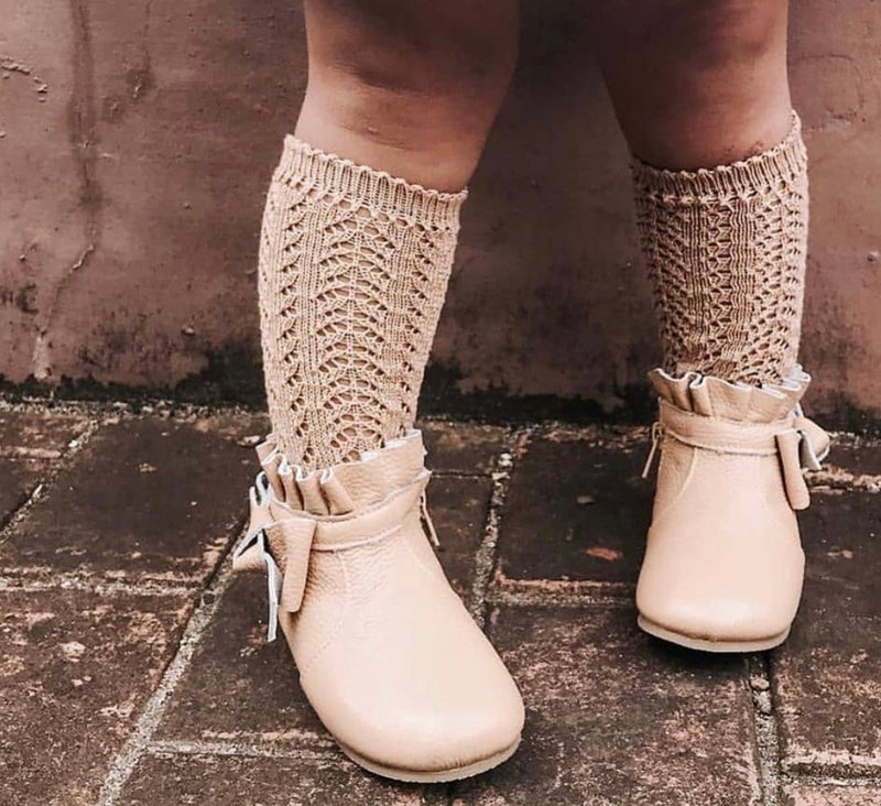 Condor Open Lacework Knee High Socks - Camel