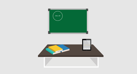 Board and table in the classroom