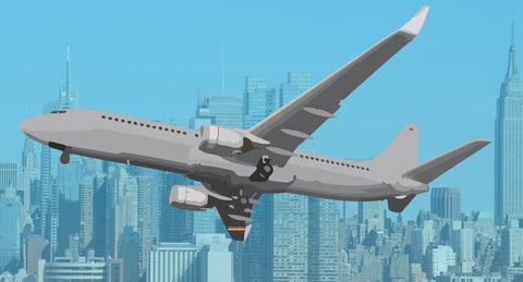 Airplane with a city in the background prezi presentation template