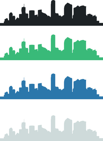 City SWF vector graphics for Prezi in 4 different colors