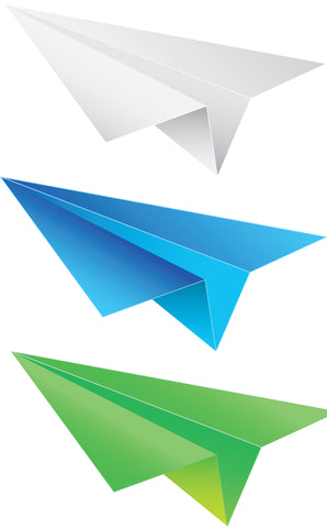 Origami airplane in 3 different colors SWF vectors