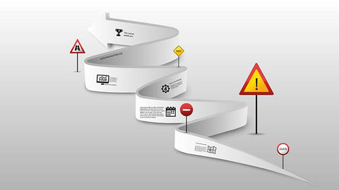 Arrow road with traffic signs Prezi template